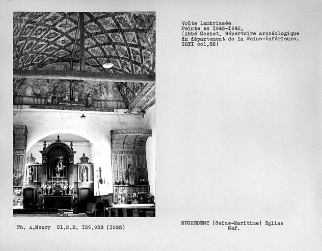 Charpente lambrissée de la nef