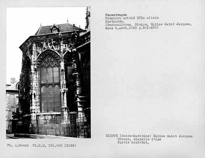 Fenestrages restaurés de l'abside du choeur, partie nord-est de la chapelle d'axe