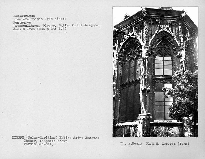 Fenestrages restaurés de l'abside du choeur, partie sud-est de la chapelle d'axe