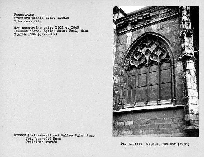 Fenestrage restauré du bas-côté nord de la nef, troisième travée