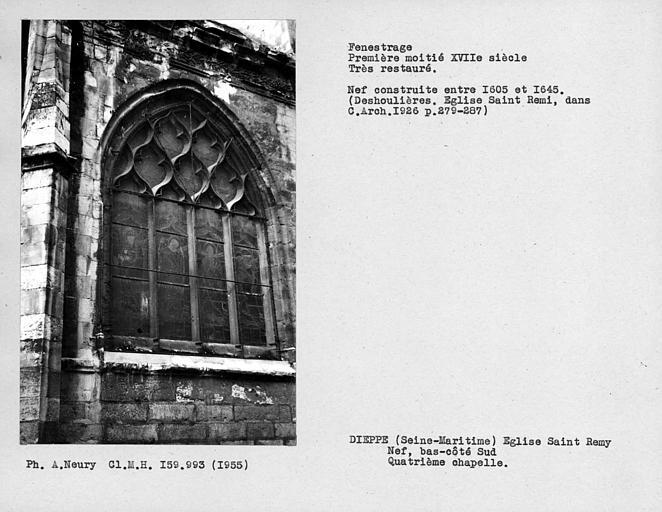 Fenestrage restauré de la quatrième chapelle du bas-côté sud de la nef