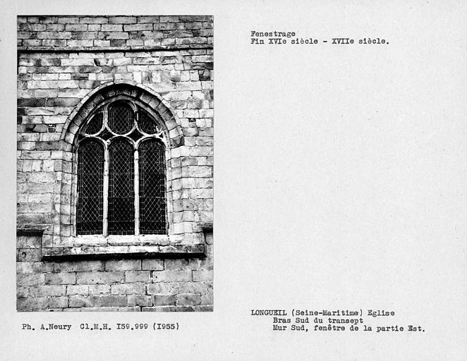 Fenestrage du bras sud du transept, fenêtre est du mur sud