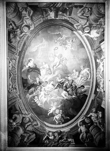 Premier étage, salon Doré : plafond en plâtre peint, époque Louis XVI