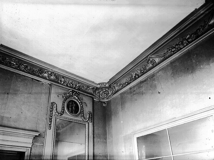 Premier étage, petit salon ouest : corniche, dessus de glace, plâtre, époque Louis XVI