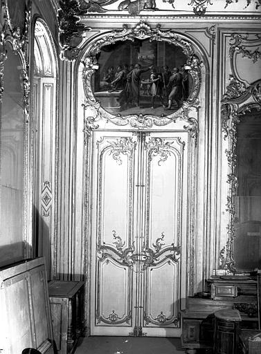 Chambre du Dais, peinture de porte : David oint par Samuel d'après Raphaël