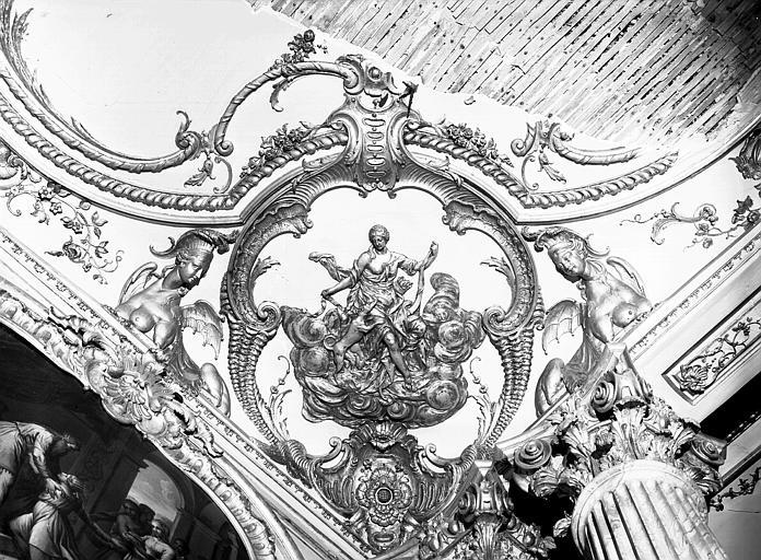 Chambre du Dais : cartouche, angle de la corniche