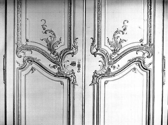 Salon de l'Assemblée : détail des boiseries de la porte