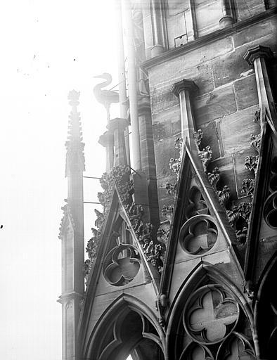 Détail de la façade ouest : une cigogne