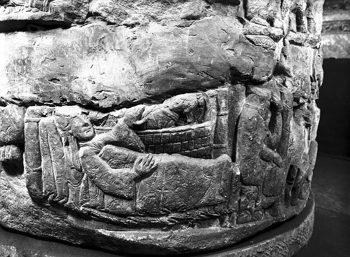 Cuve baptismale : scène de la Nativité