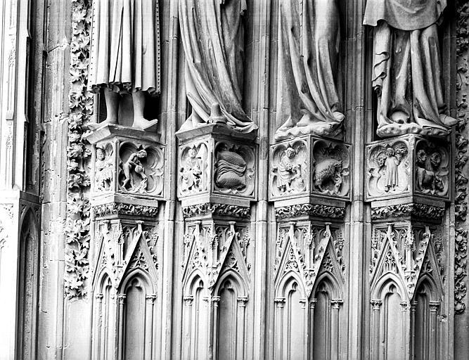 Façade ouest, portail du collatéral droit : ensemble des motifs des saisons