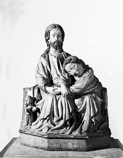 Statue en bois : le Christ et saint Jean