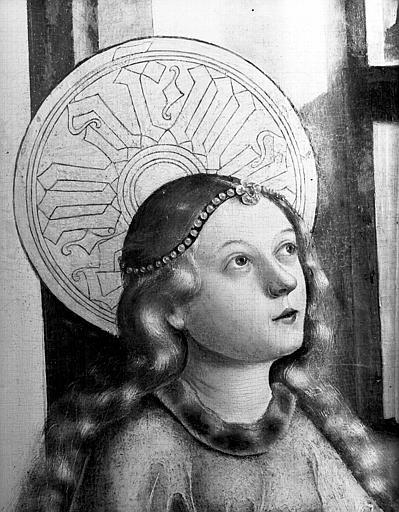 Détail d'une peinture : tête de sainte