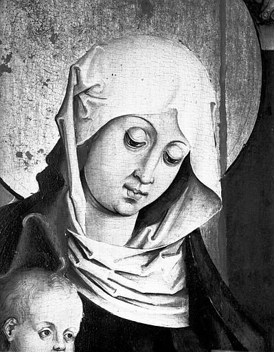 Détail du tableau de l'Adoration des Mages : la Vierge