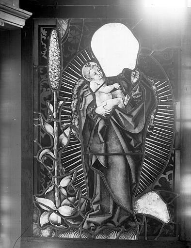 Vitrail : Vierge et l'Enfant, tête manquante