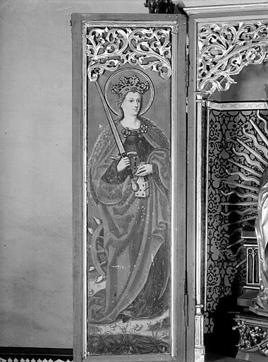 Retable volet intérieur : sainte Catherine