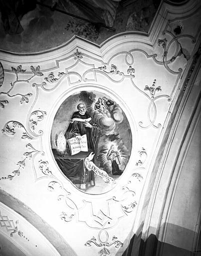 Nef, peinture de la voûte : saint Ildephonse