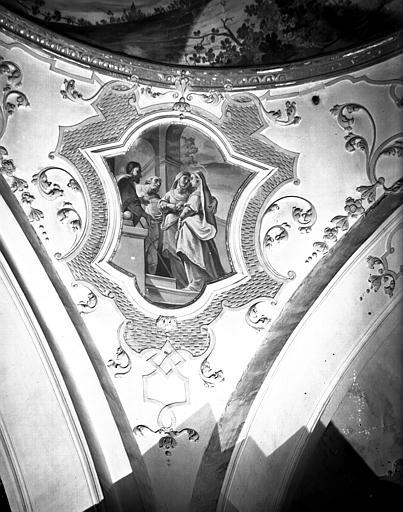 Carré du transept, peinture d'un pendentif de la coupole : Visitation