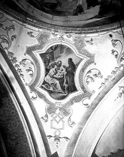 Carré du transept, peinture d'un pendentif de la coupole : Nativité de la Vierge