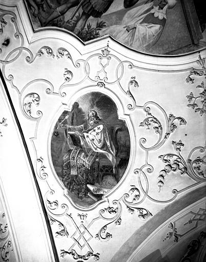 Nef, peinture de la voûte de la première travée : figure de saint