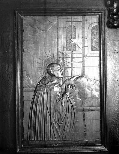 Bas-relief des stalles : saint Oswald