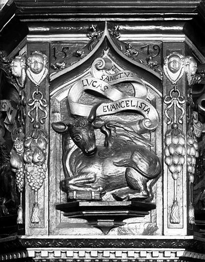 Panneau de chaire : boeuf de saint Luc