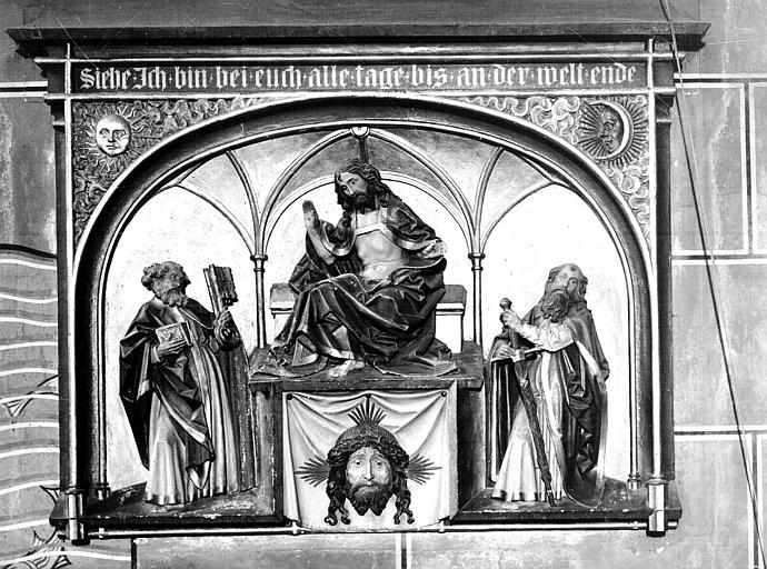 Bas-relief : Christ entre deux apôtres