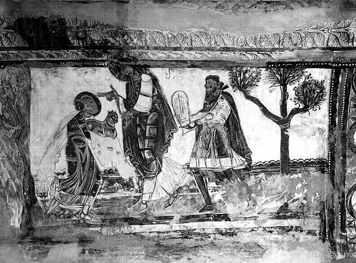 Relevés de fresques : voûte de la nef, Offrandes de Caïn et Abel
