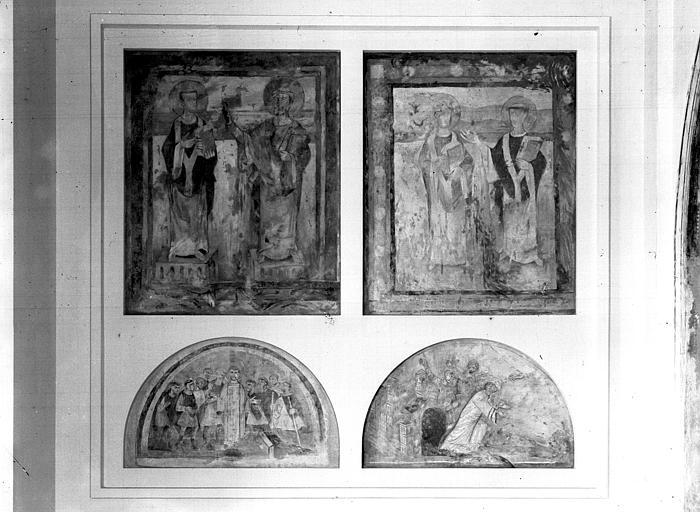 Relevés de fresques : crypte, évêque et saint Etienne