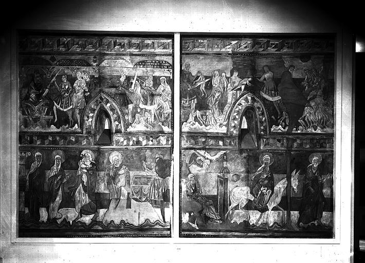 Relevés de fresques : mur ouest du choeur