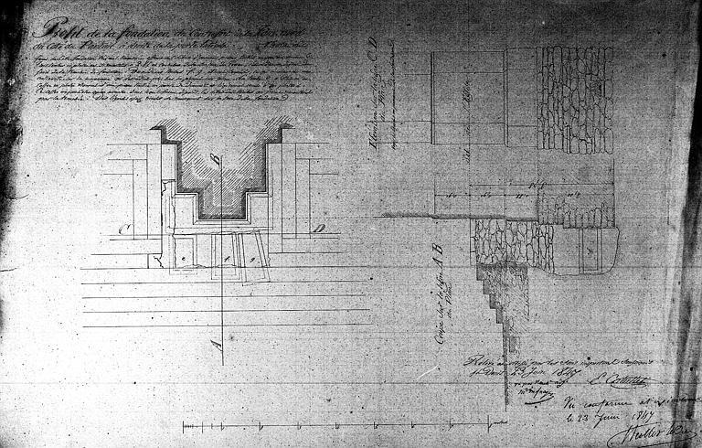 Profil de la fondation du contrefort de la tour nord, à droite de la porte latérale