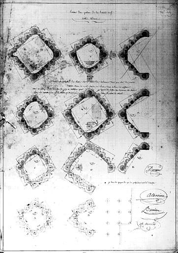Plans, attachement n°18 : bases de piliers de la haute nef, côté droit