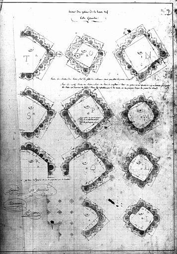 Plans, attachement n°17 : bases des piliers de la haute nef, côté gauche