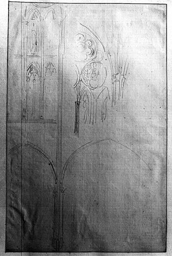 Croquis d'arcades du transept et des fenêtres
