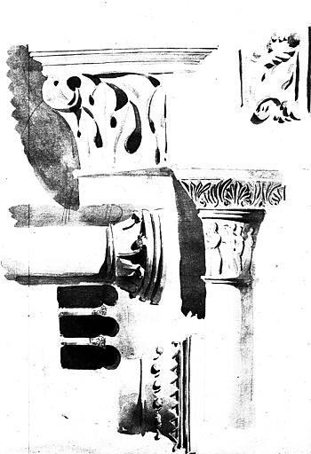 Dessins, lavis de chapiteaux