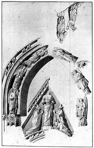 Tombeau de Dagobert : études pour écoinçon du fronton et archivolte