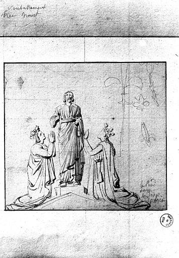 Tombeau de Dagobert : études pour écoinçon du fronton