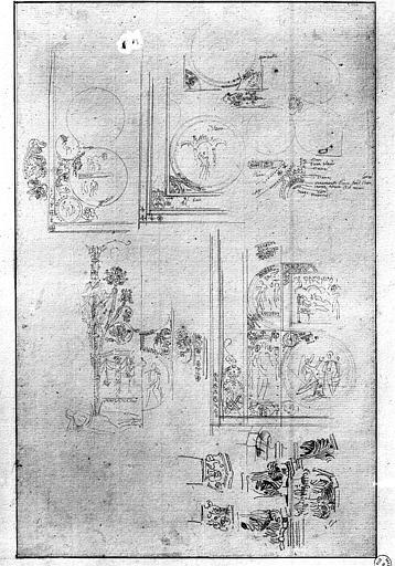Dessin de vitraux : Enfance du Christ et Arbre de Jessé