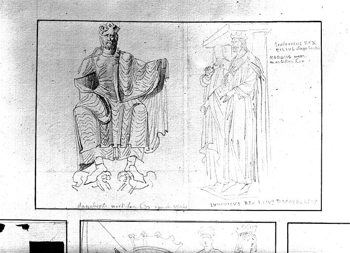 Dessins : Dagobert assis et Louis son fils en pied
