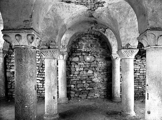 Crypte : ensemble des colonnes vue sur le choeur