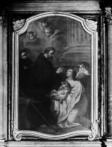 Peinture sur toile du retable du croisillon nord : Saint François de Paule ressuscitant un enfant, attribué à Restout, 18e siècle