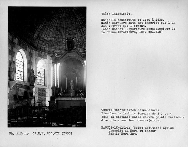 Charpente lambrissée de la chapelle au nord du choeur, ensemble intérieur