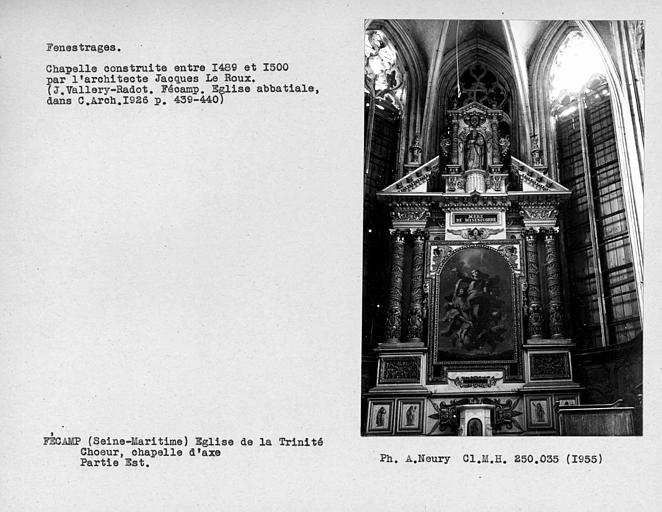 Fenestrages est de la chapelle d'axe de l'abside du choeur