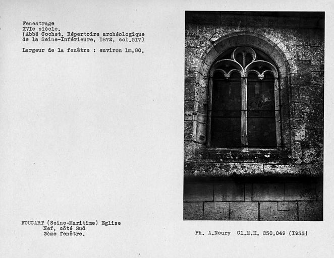 Fenestrage de la nef, côté sud, troisième fenêtre