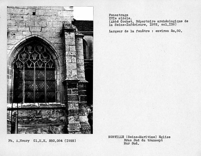 Fenetrage du bras sud du transept, fenêtre du mur sud