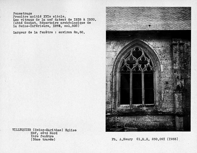 Fenestrage de la nef, côté nord, première fenêtre, troisième travée