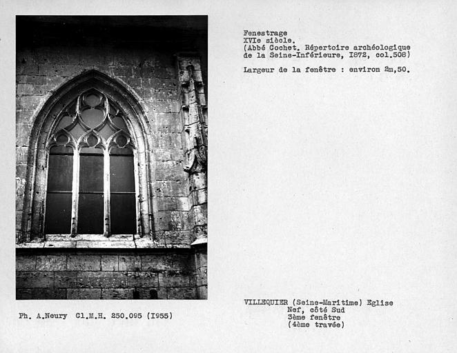 Fenestrage de la nef, côté sud, troisième fenêtre, 4ere travée