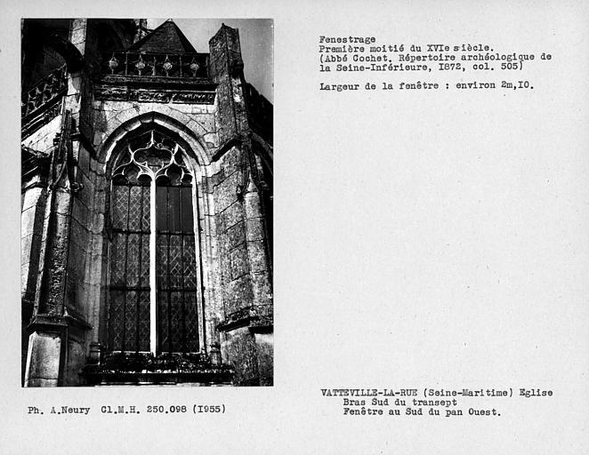 Fenestrage du bras sud du transept, fenêtre au sud du pan ouest