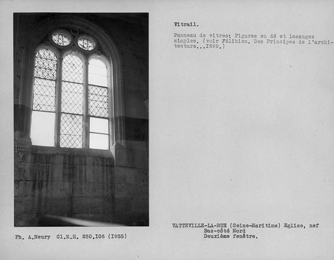 Fenestrage du bas-côté de la nef, vitrail de la deuxième fenêtre