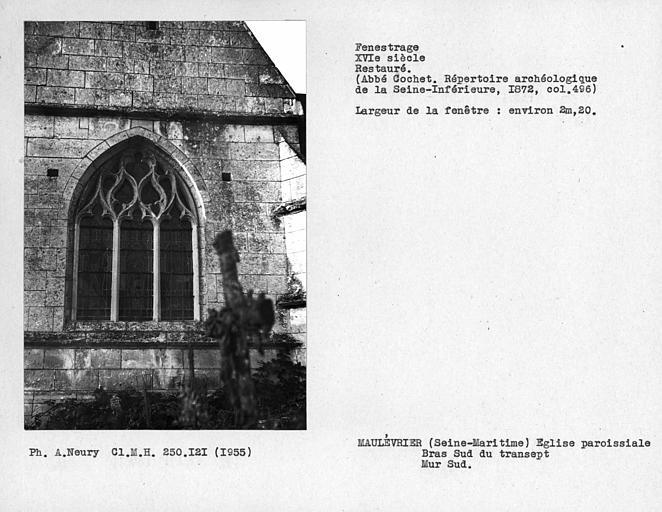 Fenestrage restauré du bras sud du transept, mur sud