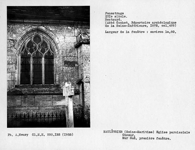 Fenestrage restauré du choeur, mur sud, première fenêtre